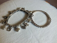 Beautiful Collectible Stretch Bracelet Lot 2 Rhinestone Charms NICE