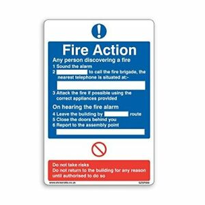 General Fire Action Sign - A5 [150mm x 200mm] Adhesive Sticker 5 x Pack