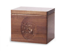 Wood Cremation Urn. Standard model with Black Walnut and Flying Geese Image