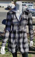 Derek Heart Black & White Plaid Button Up Stretch Shirt Dress L Sleeves Size S