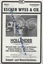 RAVENSBURG Werbung 1929 Escher Wyss & Cie Holländer Dampf-Wasser-Turbinen Papier