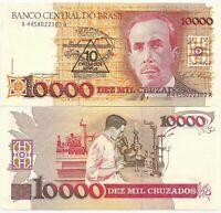 BRAZIL BRASIL 10000 10,000 CRUZADOS NOVOS 1989-1990 P-218 NEW-UNC