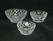 Set of 3 Lenox Fine Crystal Bowls Diamond Criss Cross Star Bottom ~Sticker Label