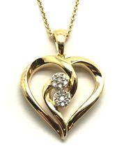 Sterling Silver Gold Tone Diamond Flower Cluster Heart Loop Swirl Love Necklace
