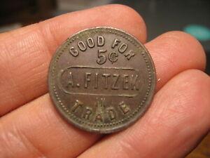 Antique US Trade Token A. Fitzek Algonquin Illinois Good For 5 Cents Brunswick