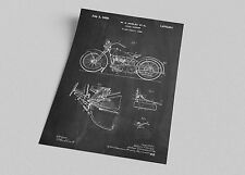 ACEO Harley Motorcycle Patent Blueprint Art Canvas Giclee Print