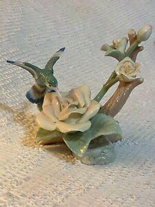 Vintage Gaylord Porcelain Hummingbird Flower Figurine Statue Pale colors.