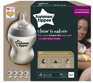 4 x Tommee Tippee Closer to Nature Baby Feeding Bottle 260ml 0m+