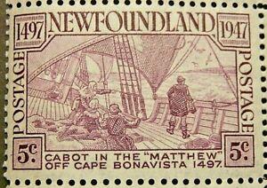 NEWFOUNDLAND 1947 SG294 5c. CABOT'S DISCOVERY OF NEWFOUNDLAND  -  MNH