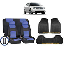 14PC BLUE PU LEATHER SEAT COVERS BENCH & BLACK RUBBER MATS FOR CARS 9201