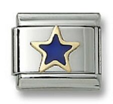 18K Gold Italian Charm Blue Enamel Star 9 mm Stainless Steel Modular Link Gifts