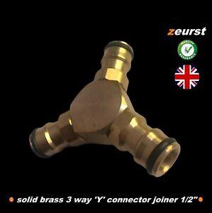 Garden Hose 'Y' Connector  3 Three wayJoiner Solid Brass fits Hozelock Hosepipe