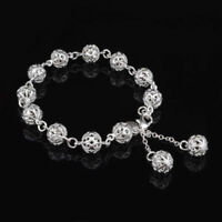"Unique & Elegant Pure 925 Sterling Silver Round Shape Charms 8"" Bracelet #011"