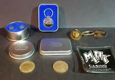More details for 6 x pieces of casino memorabilia - gaming chips, keyrings, cuff links, ash tray