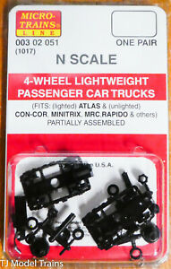 Micro-Trains Line #00302051 (1017) 4-Wheel Lightweight Passenger Car Trucks