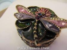 """2003 MONET """"Purple Dragonfly"""" Collectible Enamel Trinket Box  ** w Gift Box **"""