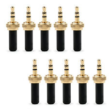 10xSpecial Mini 3.5mm Screw Lock Stereo Jack Plug Gold Plated For Sennheiser Bla