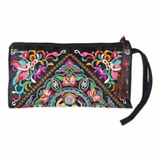 Women's Retro Ethnic Embroider Purse Wallet Phone Bag Butterfly Flower 27*15cm