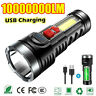 10000000LM Super Bright Torch Led Flashlight USB Rechargeable Tactical light