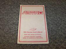 1986 Chevy Astro Minivan Van Owner Owner's User Guide Manual CL CS 4.3L V6