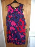 TU ROYAL BLUE, RED & FUCHSIA PINK LAYERED SLEEVELESS DRESS 22  PLUS SIZE