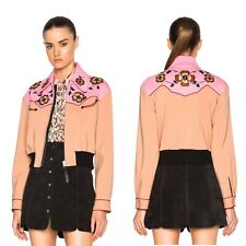 NWOT Coach 1941 Western Bomber Jacket Embroidered Floral Cropped Size 8