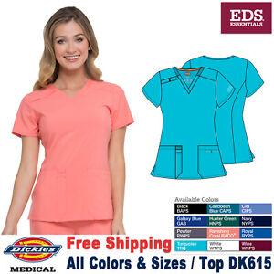 Dickies Scrubs EDS ESSENTIALS Women's Medical Contemporary New V-Neck Top DK615