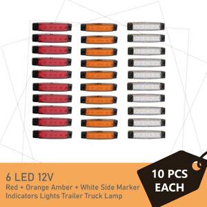 30pcs 6 LED Side Marker Clearance Trailer Lights Lamp Indicator Truck 12V