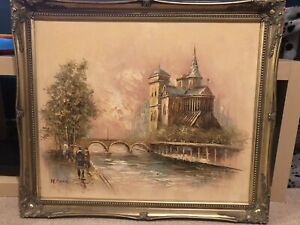 Vintage Antique Gold Framed oil Painting  Signed Painting in frame
