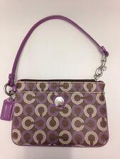 COACH Wristlet Handbag Leather Signature EUC - Purple - Zip Top