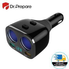 2-Socket Cigarette Lighter Splitter w/2 USB Car Charger Adapter Voltage Display