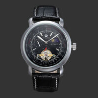 Mens Mechanical Watch Black Leather Silver Round Black Face Automatic Moon Phase