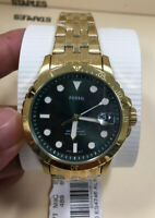 FB-01 Fossil Three-Hand Date Gold-Tone Stainless Steel Watch ES4746 NWT