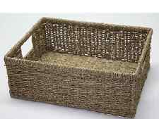 Medium Seagrass Shallow Storage Basket Drawer Green Filing Bedroom Office Home