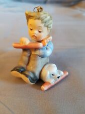 "Berta Hummel Figurine Goebel - Little Boy & Dog 1997 - Hanging Ornament 2"" Tall"