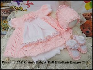 """REBORN DOLL OR BABY KNITTING PATTERN BABY ALICE 16-22"""" DOLL OR 0-3M BABY"""