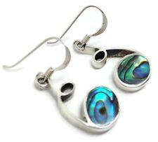 Abalone Paua Shell Swirl drop earrings, solid Sterling Silver, UK Seller 22mm