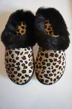 Charter Club Slippers Sz S 5 - 6 Black Brown Leopard Print Indoor Outdoor Sole