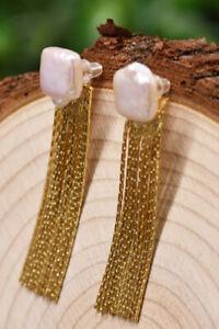 B15 Ohrringe eckige Barockperle Süßwasserperle lange Quaste Silber 925 vergoldet