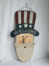 """21"""" Wooden Americana Patriotic Uncle Sam Welcome Sign, July 4th New"""