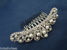 Diamante Pearl Hair Comb Slide with Crystals in Silver Tone