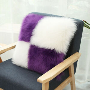 Throw Soft Fur Fluffy Sofa Bed Pillow Case Plush Luxury Cushion Cover Home Decor