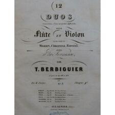 Berbiguier Tranquil Three Duos Mozart Cimarosa Rossini Flute Violin ca1830 By