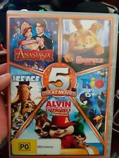 5 Movies-Rio-Garfield-Anastasia-Alvin Chip Wrecked -Ice Age -  DVD  - FREE POST