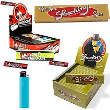 CARTINE Smoking LUNGHE ORO Gold 1 BOX + FILTRI DI CARTA ENJOY FREEDOM 1 BOX 50Pz