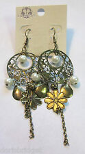 New In Package Eclipse Gold Tone & Faux Pearl French Hook Style Earrings