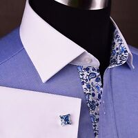 Blue Oxford Formal Business Dress Shirt Floral White Contrast Collar French Cuff