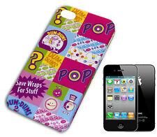 HOUSSE COUVERTURE FLIP COMPATIBLE POUR IPHONE 4 POP ART ROSE BLEU CIEL BLANC