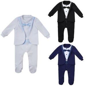 Baby Boys Formal Romper Jumpsuits Tuxedo Gentleman Suit Bow Tie Newborn Clothes