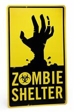 """ZOMBIE SHELTER METAL SIGN BIG 20""""X 12"""" HAND GRAVE WALKING DEAD XMAS GIFT DECOR"""